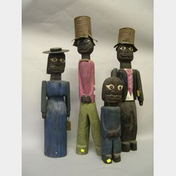 Five Jerry Farrell Carved and Painted Wooden Figures