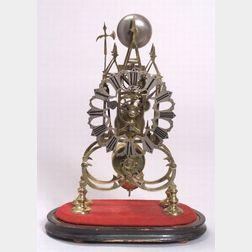 English Gothic Revival Brass Skeleton Clock