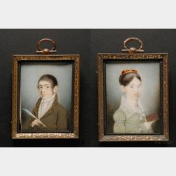 Pair of Portrait Miniatures of Nestor and Ann P. Houghton