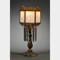 German Lithophane Lampshade and Gilt-metal Lamp Base