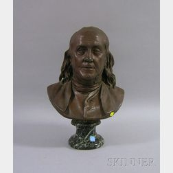After Jean-Antoine Houdon (French, 1741-1828)      Patinated Cast Bronze Bust of Benjamin Franklin