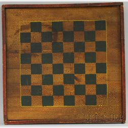 Polychrome-painted Wooden Checkers Game Board