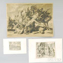 Three Old Master Prints: Schelte Adams Bolswert (Dutch, 1581-1659) After Sir Peter Paul Rubens (Flemish, 1577-1640), The Lion Hunt, eng