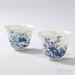 Pair of Blue and White Wine Cups