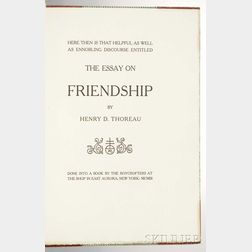 Thoreau, Henry David (1817-1862) The Essay on Friendship