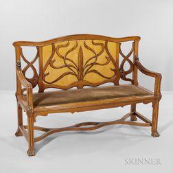 Continental Art Nouveau Bench