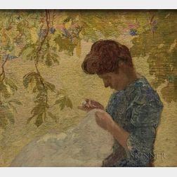 After Henri-Jean Guillaume Martin (French, 1860-1943)      Woman Sewing in a Garden