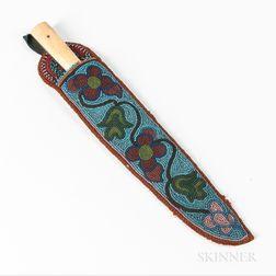 Ojibwe Beaded Hide Knife Sheath