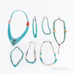 Seven Contemporary Heishi, Coral, and Turquoise Necklaces
