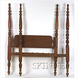 Classical Red-Stained Turned and Carved Tall Post Bed,