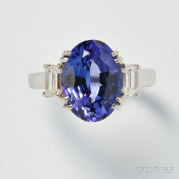 18kt White Gold, Tanzanite, and Diamond Ring
