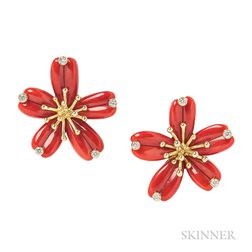 18kt Gold, Coral, and Diamond Flower Earclips, Aletto Bros.