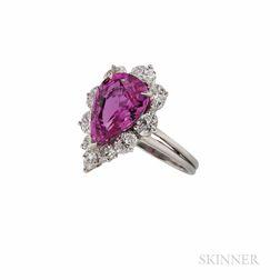 Oscar Heyman Platinum, Pink Sapphire, and Diamond Ring