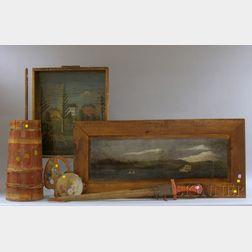 Two Folk Art Painted Landscape Decorated Wood Panels, Swordfish Bill Sword, Paint Decorated Tambourine, Artists Palette, Wooden Barrel