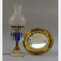 Parcel-gilt Patinated Metal and Cobalt Glass Kerosene Table Lamp with Marble Base and Colorless Frosted and Whe...