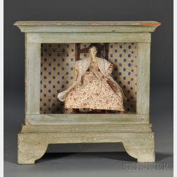 Painted Glazed Display Case with 1840s Wood Doll Seated on a Ladder-back Chair