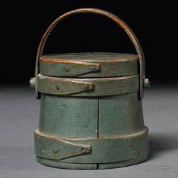 Miniature Blue-painted Covered Firkin