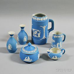 Six Wedgwood Light Blue Jasper Items