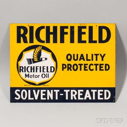 "Double-sided ""Richfield Quality Protected Solvent-Treated"" Metal Sign"