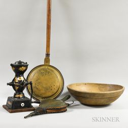 Small Enterprise Iron Coffee Grinder, a Turned Bowl, a Brass Bedwarmer, and a Pair of Bellows.
