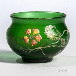 Galle Enameled Nasturtium Decorated Vase