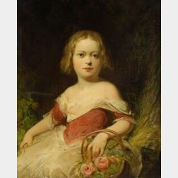 Anglo/American School, 19th Century  Portrait of a Young Girl with a Basket of Roses