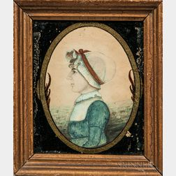 Edwin Plummer (Massachusetts, c. 1802-1880)      Portrait of a Woman in a White Bonnet