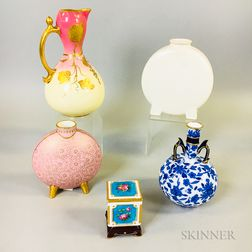 Four Mintons Ceramic Vases and a Box