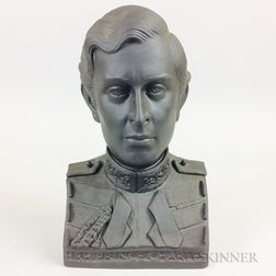 Boxed Wedgwood Black Basalt Bust of Prince Charles