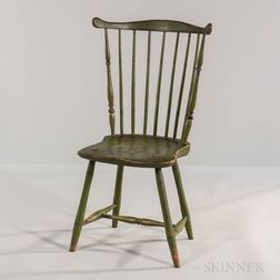Apple Green-painted Fan-back Windsor Side Chair