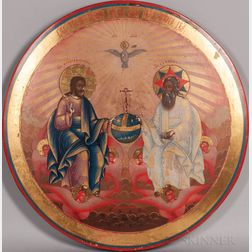 Russian Icon Depicting the Holy Trinity