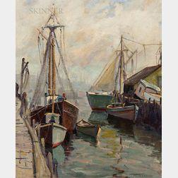 Emile A. Gruppé (American, 1896-1978)      Fishing Boats, Gloucester