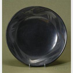 Large Southwest Black on Black Pottery Plate