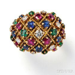 18kt Gold Gem-set Dome Ring