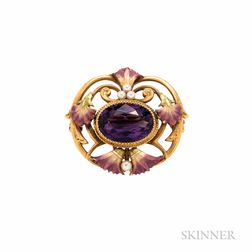 Art Nouveau 14kt Gold, Amethyst, and Enamel Brooch, Krementz & Co.