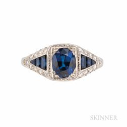 James Breski Platinum, Sapphire, and Diamond Ring