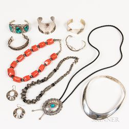 Group of Mexican and Southwestern Sterling Silver Jewelry