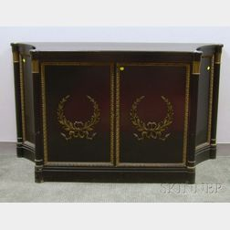 F. & G. Furniture Attributed Art Moderne Parcel-gilt Carved and Black Lacquered   Two-Door Side Cabinet