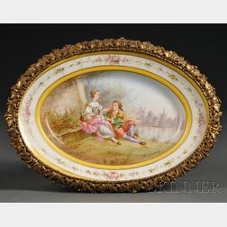 Sevres-style Porcelain and Gilt-metal-mounted Oval Dish
