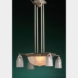 Muller Freres Frosted Colorless Glass and Cast Metal Five-light Chandelier