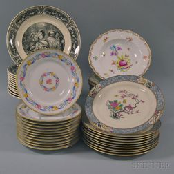 Forty-six Assorted Plates