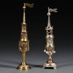 Two Silver Tower-form Spice Containers