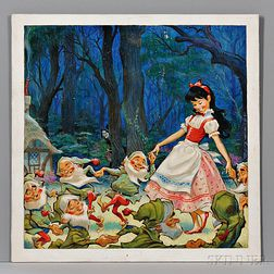 Hawley, Pete (1916-1975) Original Signed Painting for Snow White Record Cover, 1950s.