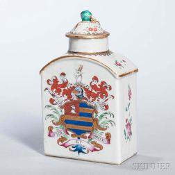 Export Armorial Porcelain Tea Caddy