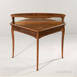 Continental Art Nouveau Inlaid Table with Mirror