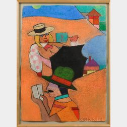 Richard Marshall Merkin (American, 1938-2009)      Sur la Plage, Cancun