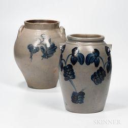 Two Cobalt-decorated Stoneware Jars