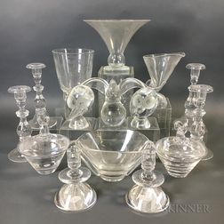Fifteen Steuben Colorless Glass Items