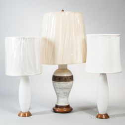 Large White Ceramic and a Pair of Frosted Glass Table Lamps