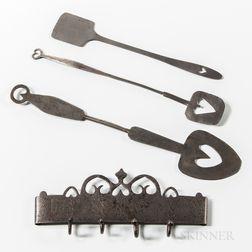 Wrought Iron Hearth Tool Rack and Three Spatulas